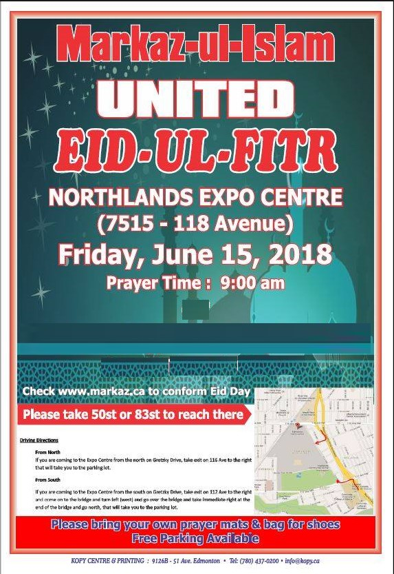 United Eid-ul-Fitr at Edmonton Expo Center – Friday June 15th 2018